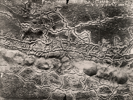 An aerial view of the German trench lines on the Western Front.