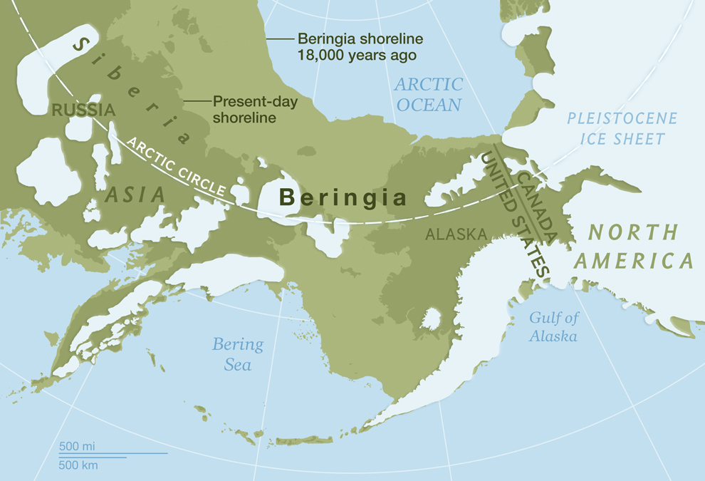 Beringia, the bridge between Asia and the Americas near the end of the Last Glacial Period