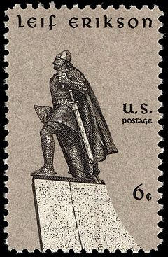 Commemorative U.S. stamp of Leif Erikson, issued on Leif Erikson Day, 9 October 1968