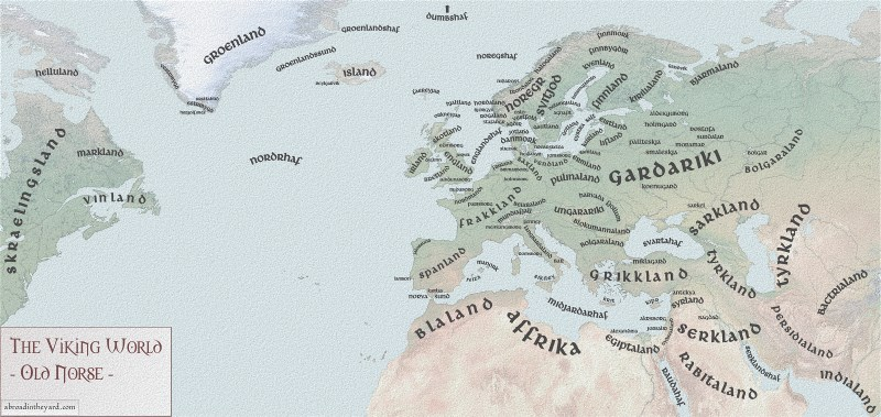 Contemporary map of Old Norse place names by Sandra Rimmer, revealing the extent of the known world to the Medieval Nordic elite