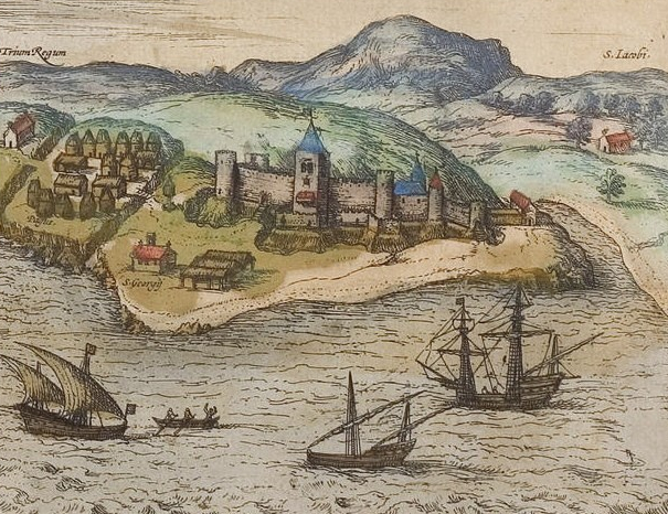 Elmina Castle as viewed from the sea by Georg Braun, 1572