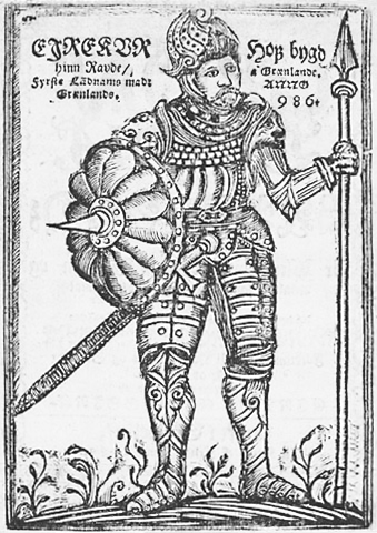 Woodcut frontispiece of Erik the Red from Arngrímur Jónsson's 'Gronlandia', 1688